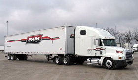 PAM Transport truck on the highway