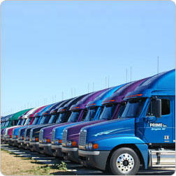 Prime tractor trailers lined up at terminal